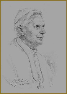 Pope Benedict XVI, sketch by Igor Babailov, Pope John Paul II Center