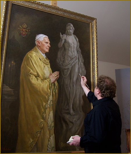 Igor Babailov, painting the Vatican Portrait of Pope Benedict XVI