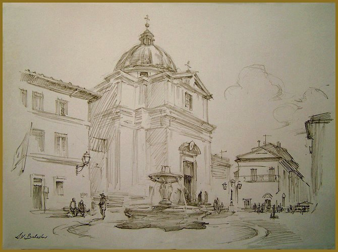 Castel Gandolfo Square Drawing By Igor Babailov