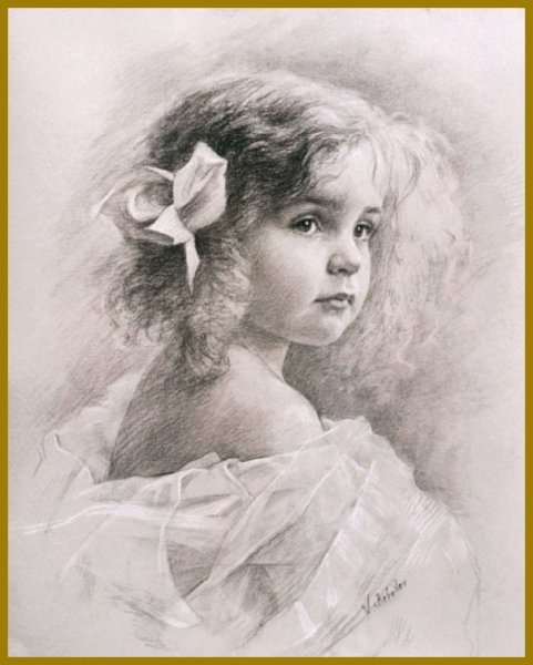 Russian Academic Drawings, Portrait of a Little Girl, by Igor Babailov - DRAWINGS by Igor Babailov, Russian American Academy of Art