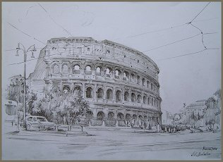 The Colosseum, Rome,  Drawing by Igor Babailov