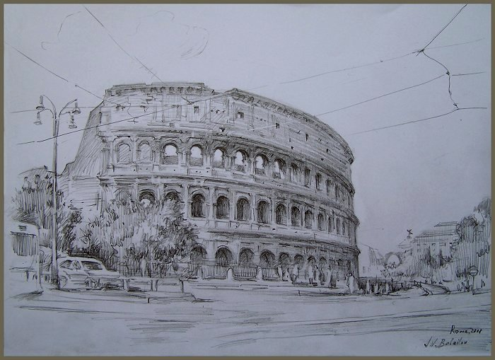 Colosseum, Rome - drawing by Igor Babailov