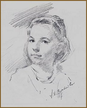 Meredith Crimmins, portrait sketch by Igor Babailov
