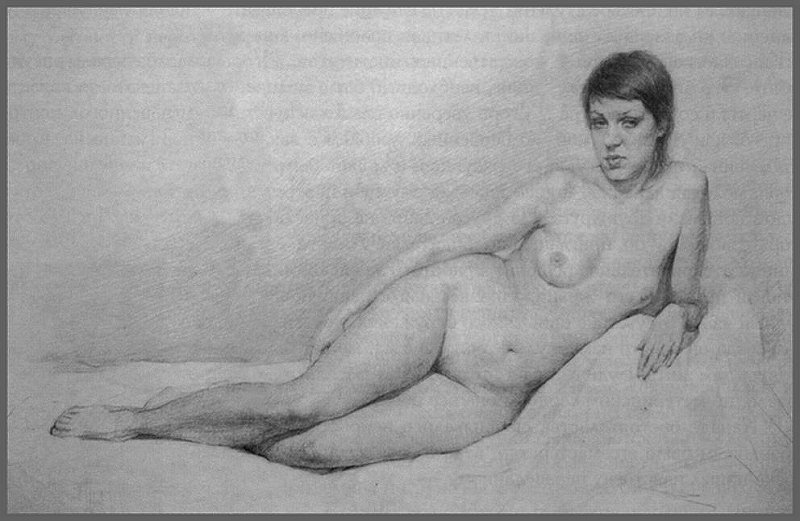 Nude Female Academic Drawing, by Igor Babailov