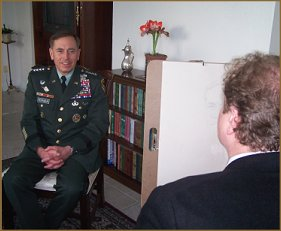 At work on the portrait of General David Petraeus, by Igor Babailov, life portrait sitting.