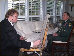 General David Petraeus and artist Igor Babasilov, the portrait sitting