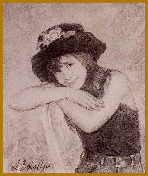 Girl in a hat, collection of Mr. and Mrs. Bennett LeBow, portrait by Igor Babailov