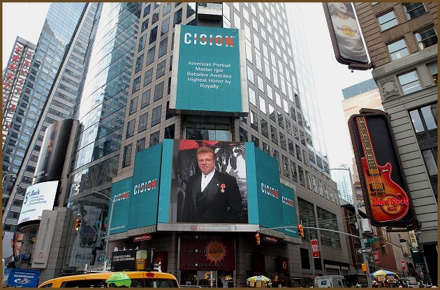 Noble Portrait Artist Igor Babailov - on billboard at Times Square, New York City