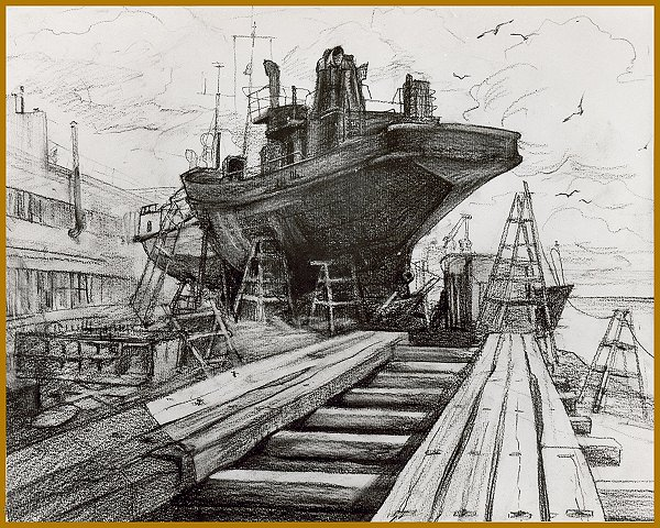 Old Ship, drawing by Igor Babailov