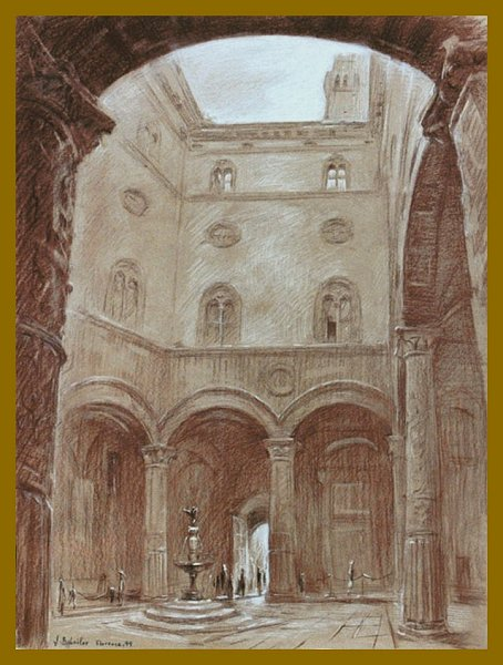 Palazzo Vecchio, Florence, drawing by Igor Babailov