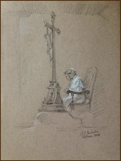 Official Portrait Sketch of Pope Francis, Life Study by Igor Babailov