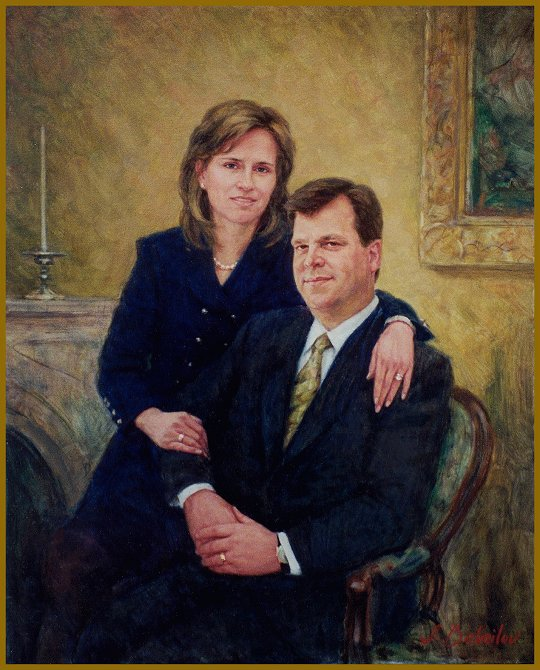 Portrait of Stephen and Deborah Ross, oil portrait by Igor Babailov